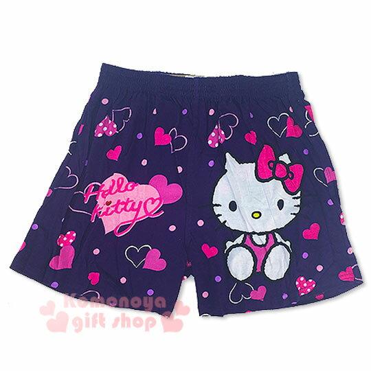 〔小禮堂〕Hello Kitty 家居平口褲《深紫.坐姿.愛心滿版.M-XL》