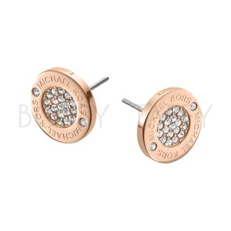 MICHAEL KORS 經典玫瑰金簡約鑲鑽耳環 MK Pavé Rose Gold-Tone Stud Earrings