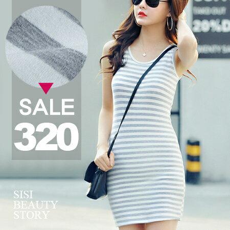 SISI~D6136~ 休閒風全棉海軍風橫條紋無袖背心包臀連身裙洋裝