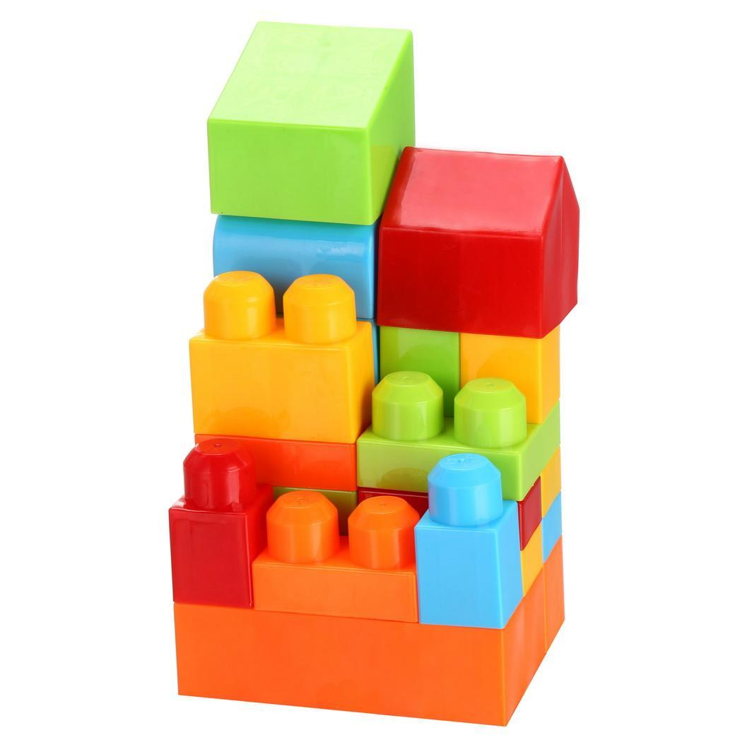 50 Piece Colorful Blocks First Builders Blocks Bag Early Learning Assorted Developmental Puzzle Toys 3