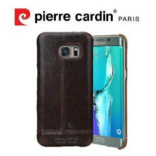 [ Samsung S7 ] Pierre Cardin法國皮爾卡登高級牛皮品牌經典不敗款真皮手機殼/保護殼 深棕色