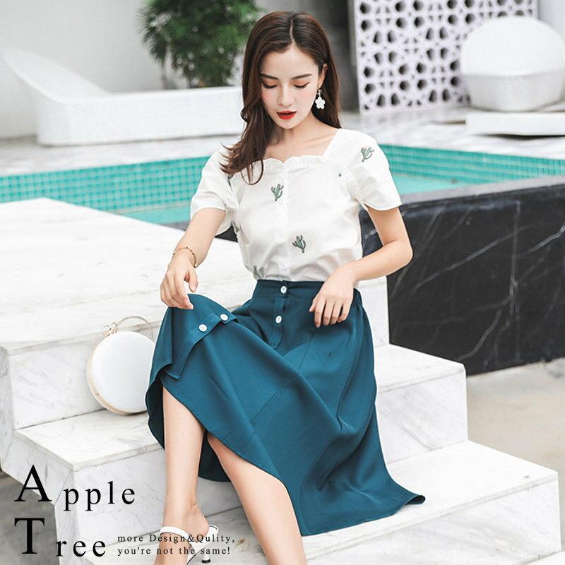 AT日韓-仙人掌刺繡單排扣長裙,兩件成套【806021】