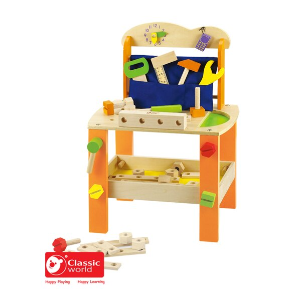 【德國 classic world】客來喜木頭玩具 螺絲工具桌 CLA3646
