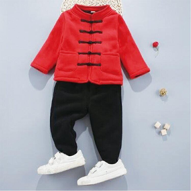 【葉子小舖】唐裝風格兩件兒童套裝/男女童裝/嬰幼兒外套/嬰兒服飾/保暖抗寒/舒適柔軟/新年拜年