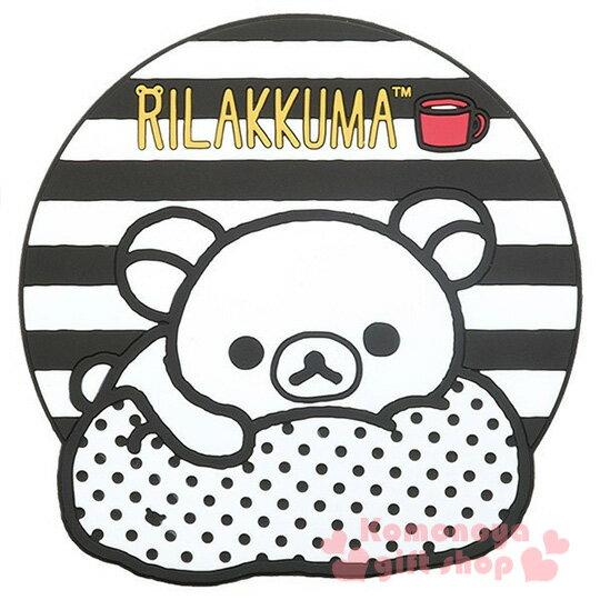 〔小禮堂〕懶懶熊 造型矽膠杯墊《黑白.躺抱枕》黑白設計系列