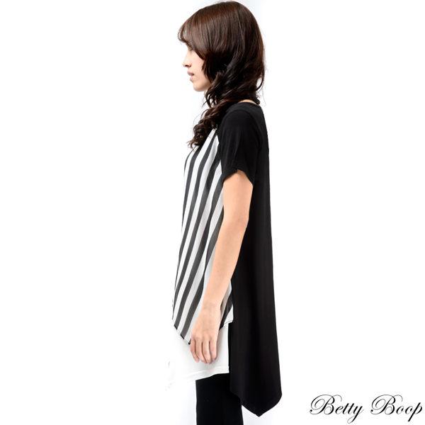 上衣 Betty Boop 直條紋雪紡拼接寬擺圓領長版上衣 2