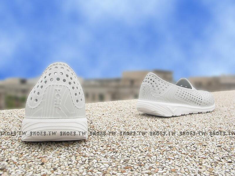 《限時特價79折》Shoestw【62U1SA61SY】PONY TROPIC 水鞋 軟Q 防水 懶人鞋洞洞鞋 灰線條 親子 2