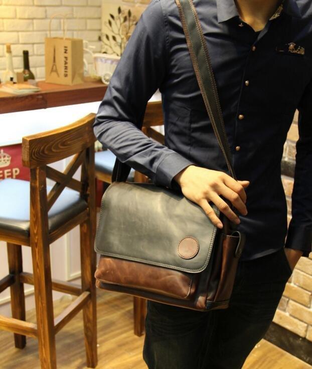 FINDSENSE Z1 韓國 時尚 潮 男 皮質 休閒 拼色 手提包 單肩包 斜背包 側背包