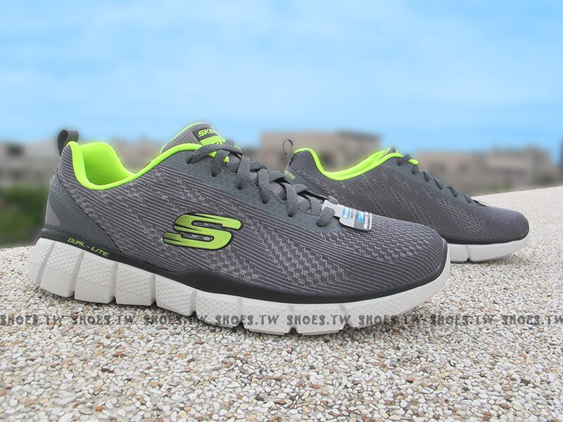 Shoestw【51533CCLM】SKECHERS 健走鞋 Relaxed FIT 記憶泡棉鞋墊 灰螢光綠 男款