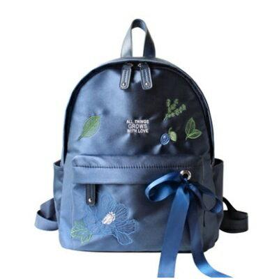 後背包刺繡雙肩包-清新花卉時尚絲帶女包包73sr25【獨家進口】【米蘭精品】