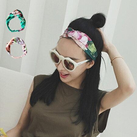韓版 華麗花朵緞帶彈性髮帶 絲帶髮箍 髮圈 頭飾 髮飾【N201817】