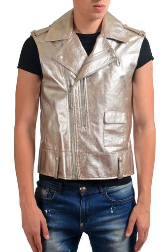 Maison Margiela 10 Men's 100% Leather Metallic Double Breasted Vest US M IT 50 91ed335ee15d3ae4cfb3b8ae89095190
