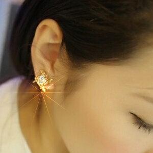 美麗大街【GE436】可愛百搭超閃四方形鋯石水鑽耳釘耳飾耳環飾品