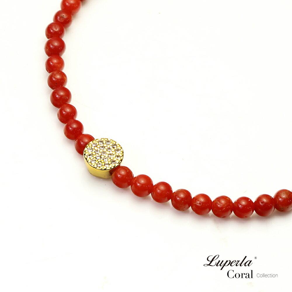 大東山珠寶 富貴永恆 頂級天然全紅珊瑚手鍊 3-4mm 1
