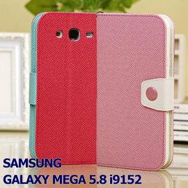 【雙色、軟殼側掀】三星 SAMSUNG GALAXY MEGA 5.8 i9150 / i9152 皮套/手機套/書本翻頁式保護套/立架展示斜立/TPU