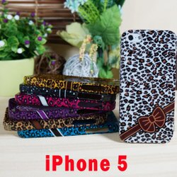 Apple  iPhone5/5S/SE 豹紋蝴蝶結  保護殼 手機殼 軟殼 背蓋 透明 手機套