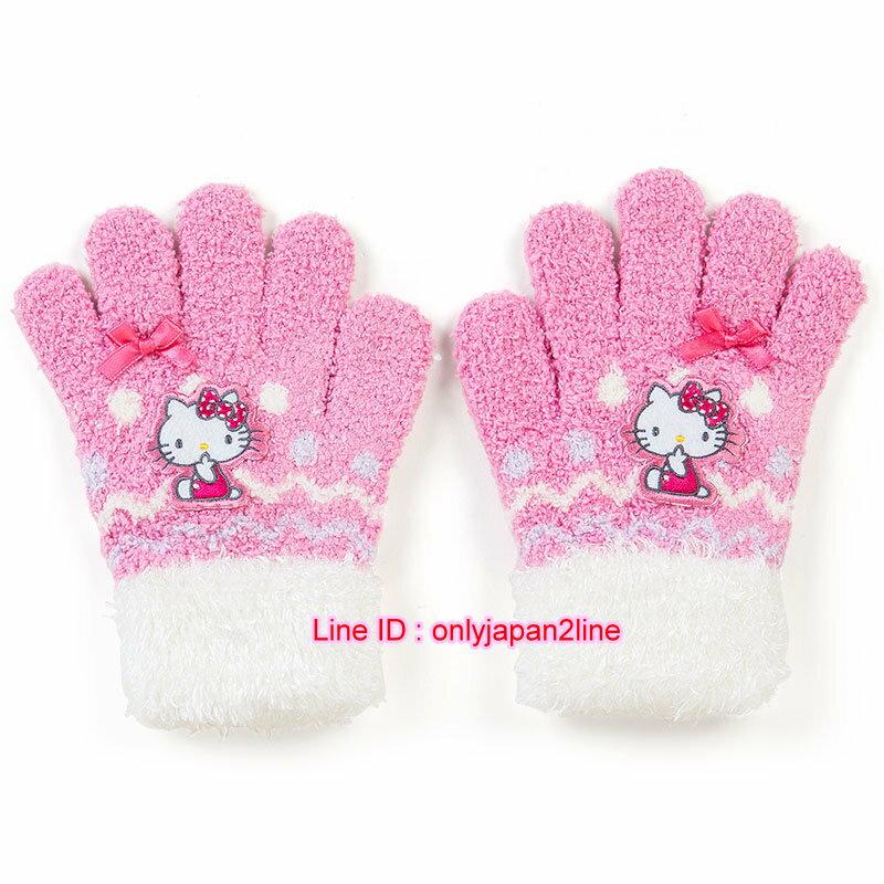 【真愛日本】16101400056毛絨手套-KT坐姿吮指粉 三麗鷗 Hello Kitty 凱蒂貓  手套 禦寒用品 保暖 童用