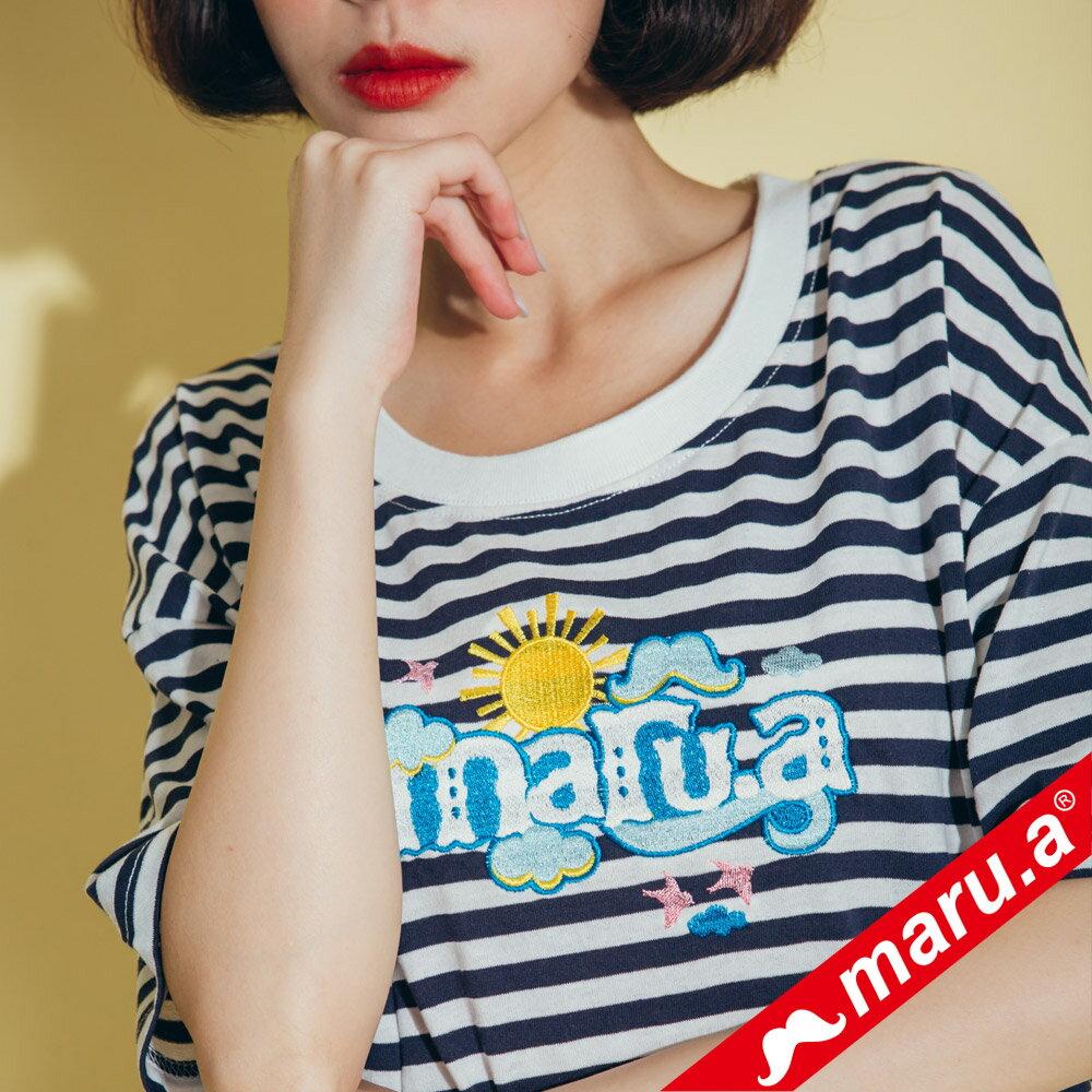 【maru.a】條紋長版蕾絲兩件式洋裝(2色)8317112 2