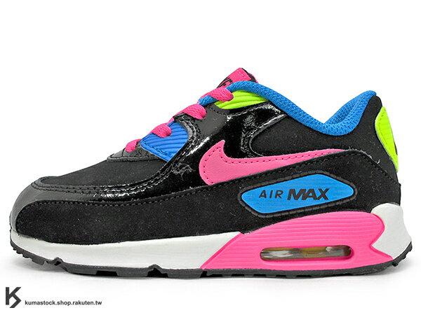 2015 台灣未發售 NSW 輕量舒適 NIKE AIR MAX 90 LTR TD BT 幼童鞋 BABY 鞋 黑粉藍桃紅 氣墊 (724854-004) !