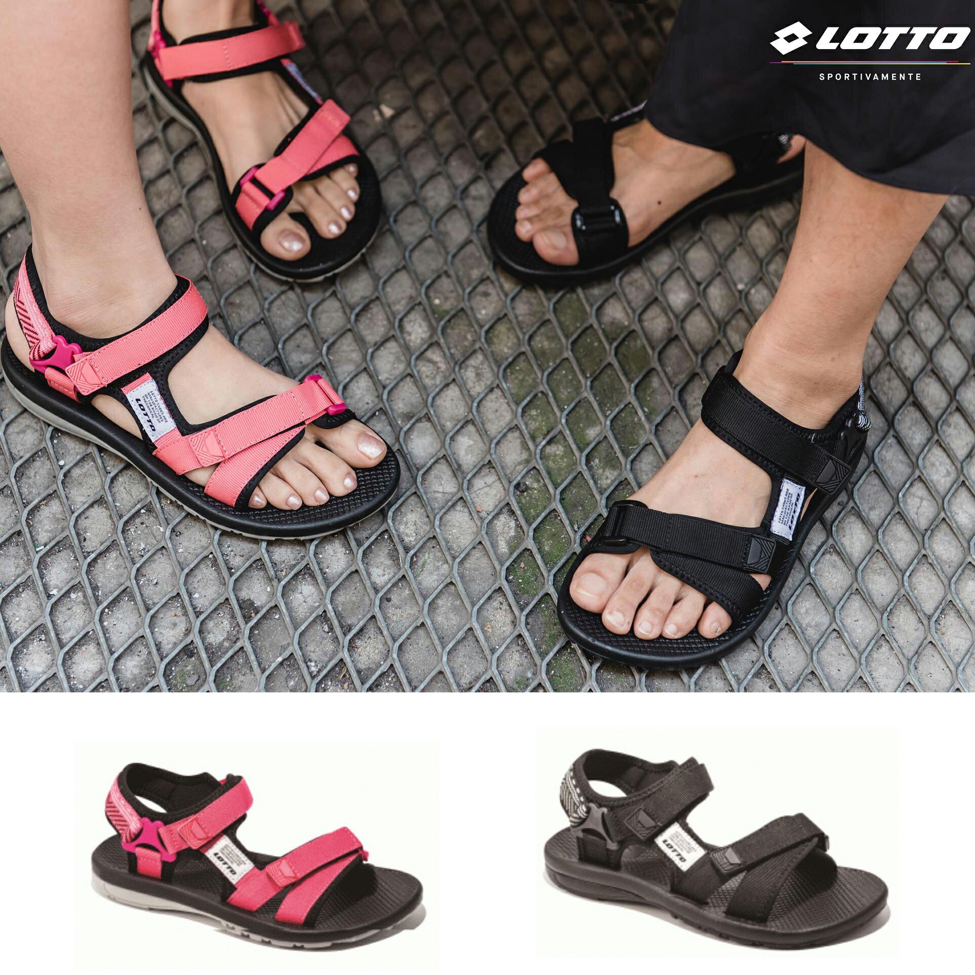 【巷子屋】義大利第一品牌-LOTTO樂得 女款流行圖騰織帶涼鞋 [6160黑 6162珊瑚紅] 超值價$690