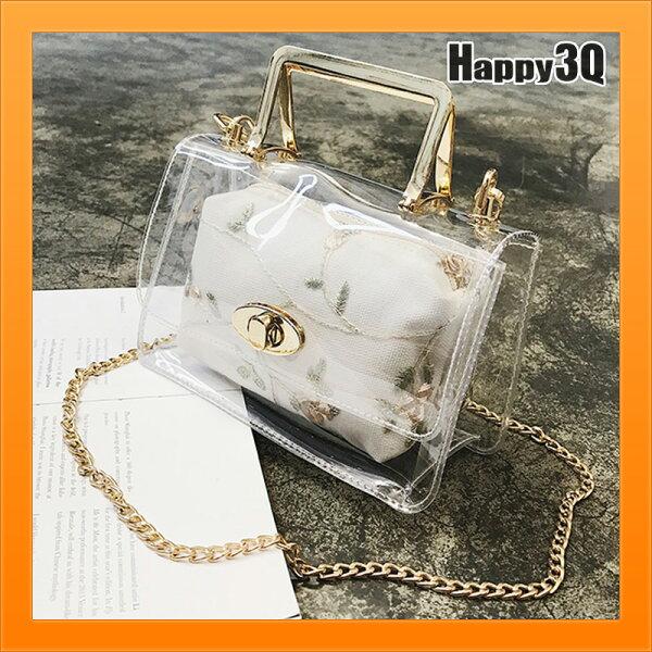 透明包果凍包刺繡包淑女秀氣特色鍊條包鎖鏈包百搭氣質優雅-灰白【AAA4672】