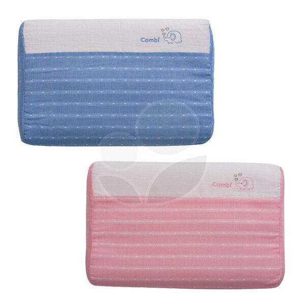 Combi康貝輕柔感-和風紗透氣嬰兒枕-藍粉【悅兒園婦幼生活館】