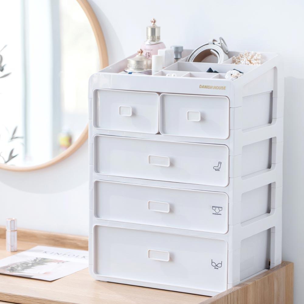 Mr.box【007015-01】日式頂層收納四層抽屜式內衣小物收納整理盒收納箱-白色