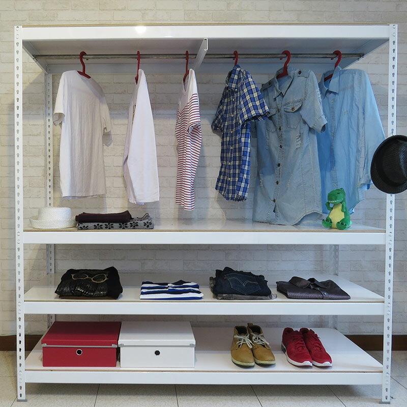 白色吊衣櫃 衣架 收納 組合架 收納櫃 免螺絲角鋼衣櫥 (6x2x6尺_4層) 空間特工【CLW64】