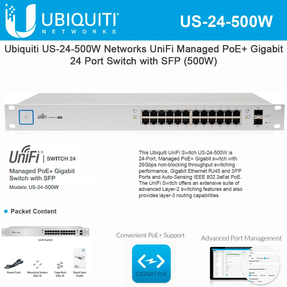 Ubiquiti Networks UniFi Switch PoE US-24-500W UniFi Managed PoE+ Gigabit 24 RJ45 Port 500W with SFP Ports