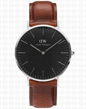 40MM 0130DW 黑錶面 真皮咖啡錶帶 瑞典正品代購 Daniel Wellington 男錶手錶腕錶 0
