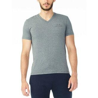 美國百分百【Armani Exchange】T恤 AX 短袖 logo 短T 上衣 T-shirt V領 灰色XS號 H854