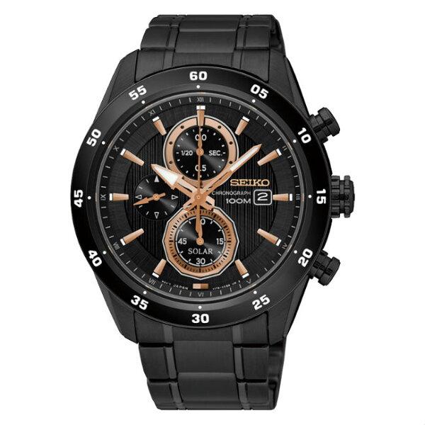 SeikocriteriaV176-0AR0K(SSC545P1)極致競速太陽能計時腕錶黑面43mm