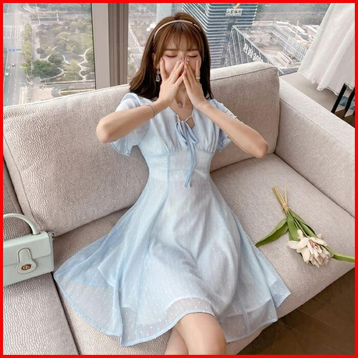 韓系春夏短袖洋裝婚禮宴會派對連身裙氣質名媛雪紡連衣裙 依米迦