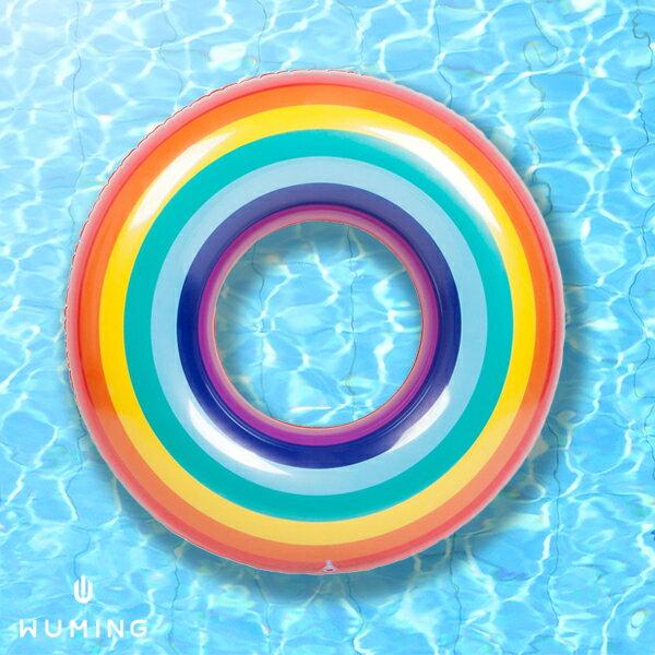 加厚彩虹充氣泳圈歐美渡假水上座椅救生圈甜甜圈玩水游泳戲水夏日IG網紅『無名』N05121