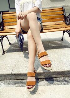 夏天必備!可調麂皮涼鞋麻繩底草編鞋棕色