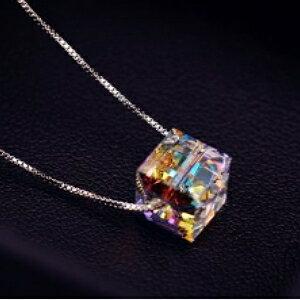 美麗大街【GX496】閃亮透徹 炫彩水晶項鍊女 韓國925純銀鍊條鎖骨鏈銀飾品