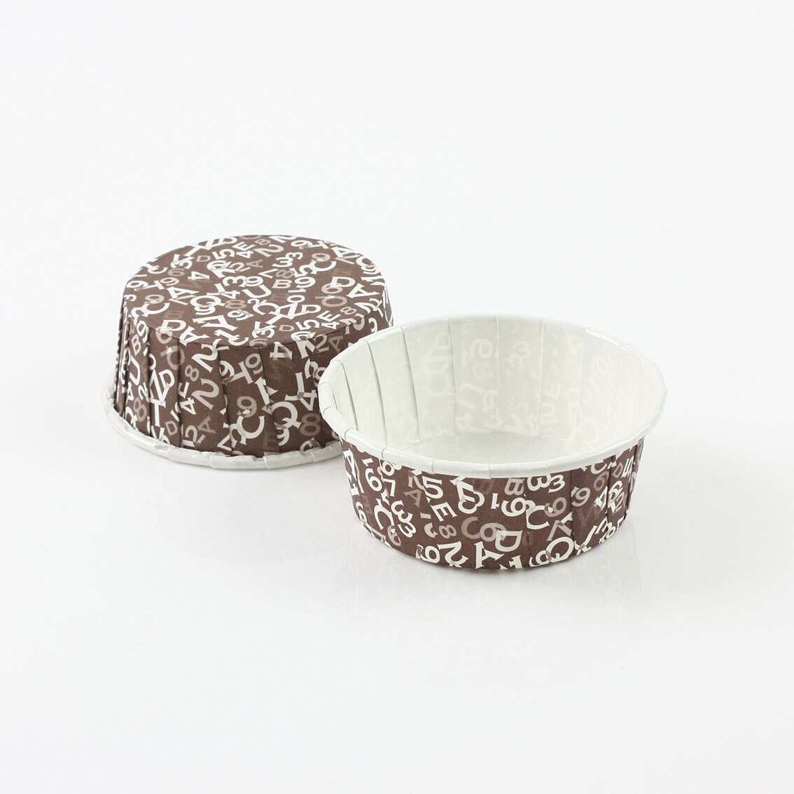 瑪芬杯、杯子蛋糕、捲口杯 PET5524-06 咖色字母(100pcs/包)