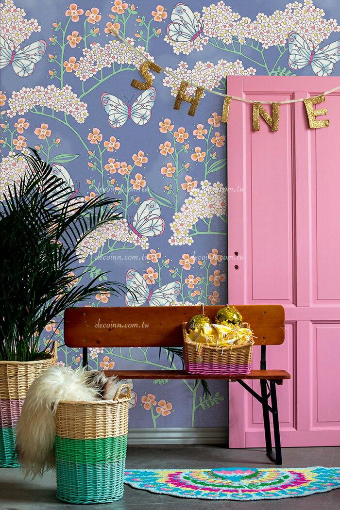 F11Q-3836/20 荷蘭期貨影像壁紙 清新花朵 植物 蝴蝶 藍色