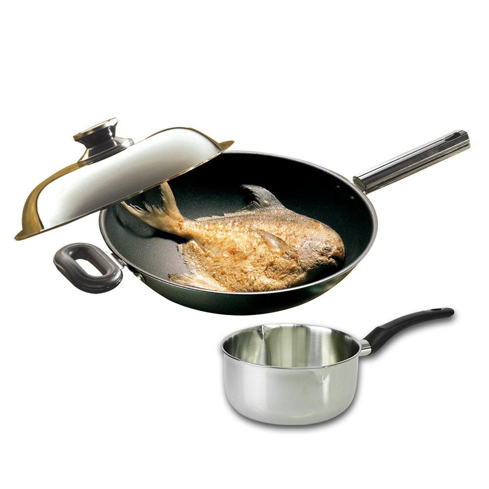 鍋寶 煎低脂不沾炒鍋34CM+雪平鍋20CM