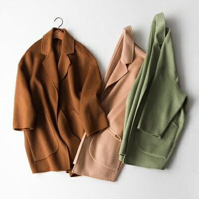 【米蘭秀】【奇珍館】:毛呢外套羊毛大衣-優雅寬鬆簡約設計女外套3色73op9【獨家進口】【米蘭精品】