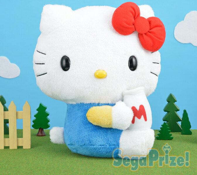 18072700008 日本景品35cm娃-KT手抱牛奶 凱蒂貓 kitty 三麗鷗 娃娃 日本限定 景品 真愛日本
