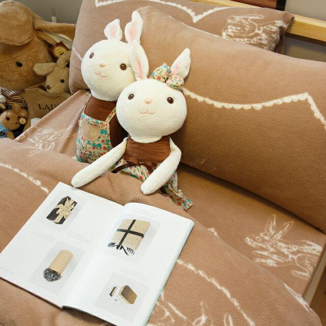 搖粒絨床組 可可塗鴉兔  單人/雙人/加大綜合賣場  溫暖過冬 台灣製 8