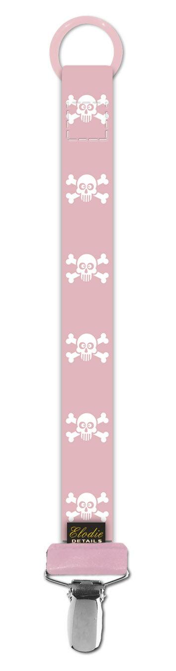 ★衛立兒生活館★瑞典 Elodie Details 艾洛迪  時尚安撫奶嘴鍊夾-粉紅骷顱