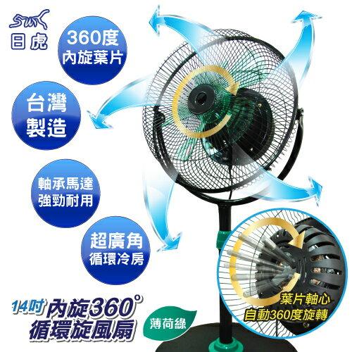[馬達保固3年] 日虎牌14吋360°內旋式循環扇 / MIT台灣製 / 獨家新型專利 / JT-149