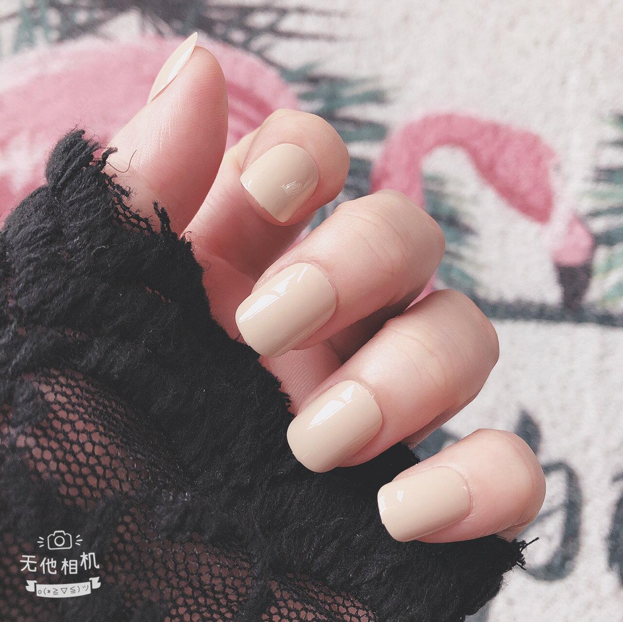 現貨~ NWP0005 氣質米短款 美甲成品甲片 純色少女 可穿戴式 可拆卸 網紅 指甲貼
