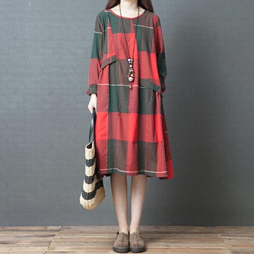 *ORead*格子純棉長款連身裙(3色M~2XL) 1