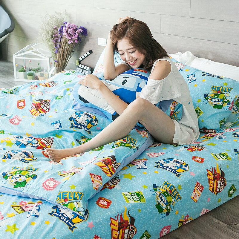 床包被套組 / 單人【波力救援小英雄-藍】含一件枕套,磨毛多工法處理,戀家小舖台灣製