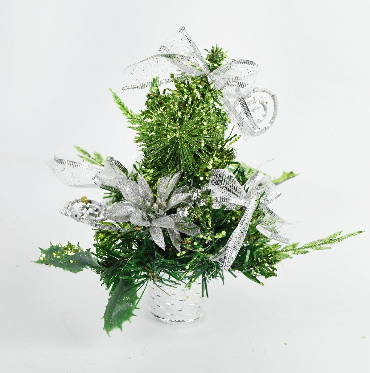 X射線【X454028】20cm裝飾聖誕樹(銀),聖誕樹/聖誕佈置/聖誕燈/會場佈置/材料包/成品樹/小樹