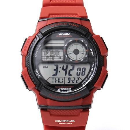 CASIO卡西歐紅色電子手錶【NEC3】
