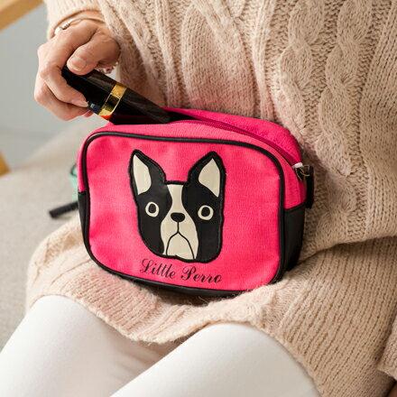 裕子的店~法國鬥牛犬Big Face拉鍊化妝包 旅行收納包 ^(綠 象牙白 粉共3色^)~